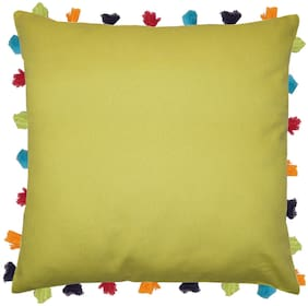 Lushomes Solid Cotton Green Cushion Cover ( Large , Pack of 1 )