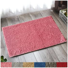 """Lushomes Pink Thick and fluffy 1800 GSM bathmat with High Pile Polyester with Synthetic backing, Super Absorbent (12""""x 18"""", 30 x 45 cms, Single Pc)"""
