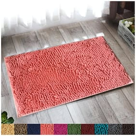 """Lushomes Pink Thick and fluffy Chenille 1200 GSM bathmat with High Pile Microfiber with PVC  backing, Super Absorbent (Bathmat Size: 16""""x 24"""", Single Pc )"""