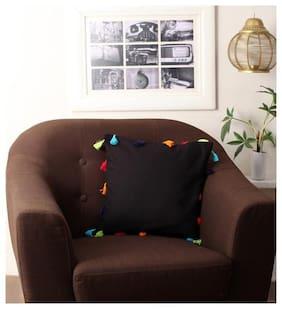 Lushomes Plain Cotton Square Shape Black Cushion Cover ( Regular , Pack of 1 )