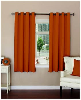 Lushomes Plain Mango Polyester Blackout Curtains With 8 Eyelets For Windows (5 ft)