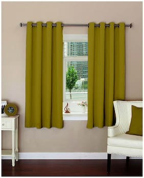 Lushomes Plain Ginger Polyester Blackout Curtains With 8 Eyelets For Windows (5 ft)
