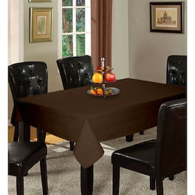 Lushomes Plain French Roast Holestitch Cotton for 12 Seater Brown Table Covers