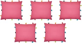 Lushomes Solid Cotton Pink Cushion Cover ( Small , Pack of 5 )