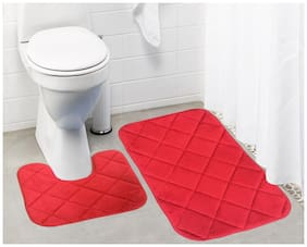 Lushomes Red Super soft memory foam bathmat Set ( Bathmat Size 16x 24 + Contour Set 16x16;Two Pc Set)