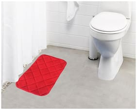 Lushomes Red Super soft memory foam bathmat ( Bathmat Size 12x 20;Single pc)