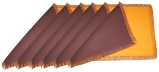 Lushomes Reversible Fringe Placemats Orange & Brown (Pack of 6)