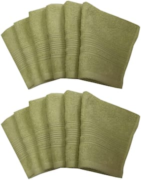 Lushomes Shadow Green Super Soft and Fluffy Face Towel (Size 12 x 12 , Pack of 12, 450 GSM)