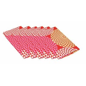 Lushomes Spiral Printed Cotton 6 Table Napkins Set (Dinner Napkins)