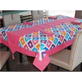 Lushomes Square Printed 6 Seater Regular Table Linen Set