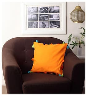 Lushomes Solid Cotton Orange Cushion Cover ( Large , Pack of 1 )