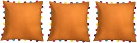 Lushomes Solid Cotton Orange Cushion Cover ( Large , Pack of 3 )