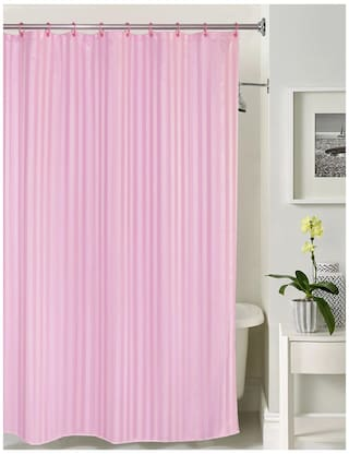 Lushomes Thick Striped Prism Pink Water Repellent Shower Curtain With 12 Eyelets And C