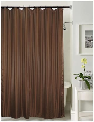 Lushomes Thick Striped Dark Brown Water Repellent Shower Curtain With 12 Eyelets And C