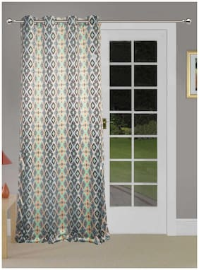 Lushomes Uber Premium 3D Printed Cream Based Abstract Door Curtains (Single Pc Size 137.16 cm (54 inch) x 228.6 cm (90 inch) 8 metal eyelets)