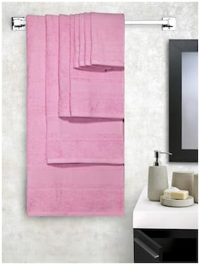 Lushomes Ultra Absorbent Bath 8 pc Baby Pink Towel Set packed with Ribbon and PVC box with handle.(1xGents T.+1ladies T.+2xHand T.+4xFace T.)