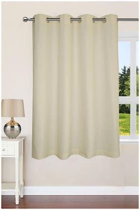 Lushomes Ultra Soft & Premium Cotton Off-White Window Curtain with 8 metal eyelets and tieback, Size: 54x60 (single pc)