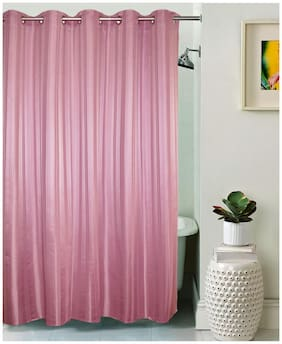 Lushomes Unidyed Lilas Polyester Shower Curtain with 10 Eyelets