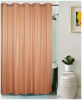 Lushomes Unidyed Almost Apricot Polyester Shower Curtain with 10 Eyelets