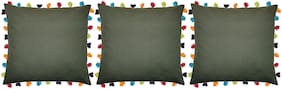 Lushomes Solid Cotton Green Cushion Cover ( Extra large , Pack of 3 )