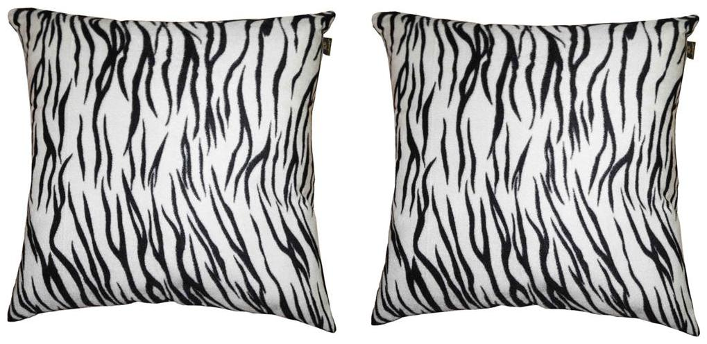 Lushomes White Tiger Skin Printed Cushion Covers  Pack of 2
