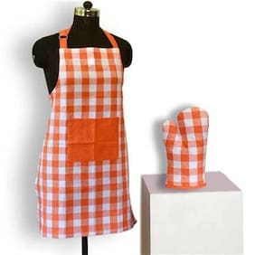 Lushomes Yarn dyed orange checks 1 Apron and 1 Oven Mitten
