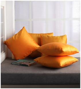 Lushomes Yellow Dupion Silk Cushion Covers (Pack of 5)