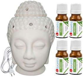 Luxantra Beige Ceramic Electric Buddha Head Aroma Diffuser with 4 Mogra Aroma Oil 10ml Each for Home Office hotel 14x10x10cm