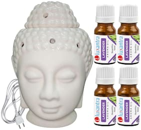 Luxantra Beige Ceramic Electric Buddha Head Aroma Diffuser with 4 Lavender Aroma Oil 10ml Each for Home Office hotel 14x10x10cm
