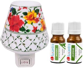 Luxantra Ceramic Electric Aroma Diffuser Night Lamp Light with Mogra jasmine Aroma Oil 10ml Each for home office hotel Spa