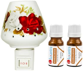 Luxantra Ceramic Electric Aroma Diffuser Night Lamp Light with 2 Sandalwood Aroma Oil 10ml Each for Home office Hotel Spa
