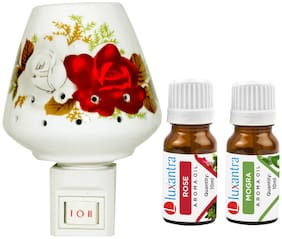 Luxantra Ceramic Electric Aroma Diffuser Night Lamp Light with Rose Mogra Aroma Oil 10ml Each for Home office Hotel Spa