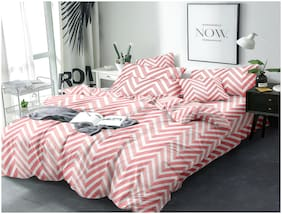 LUXURIVO HOME Poly Cotton Printed Double Size Bedsheet 144 TC ( 1 Bedsheet With 2 Pillow Covers , Pink )