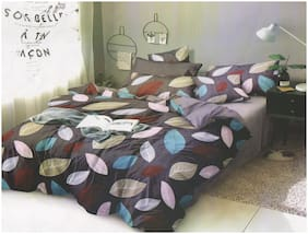 LUXURIVO HOME Poly Cotton Floral Double Size Bedsheet 144 TC ( 1 Bedsheet With 2 Pillow Covers , Brown )