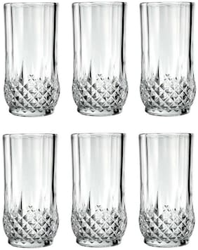 Maalgodam Crystal Diamond Cut Imported Transparent Juice and Water Glasses;Tumbler 300 ml- (6 pcs Set)
