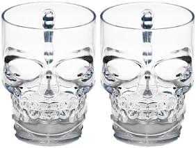 Maalgodam Skull Face Beer Mug set of 2 Drinking Glasses with Handle 2x0.5 L