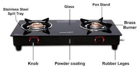 MACIZO Preto 2 Burner Regular Black Gas Stove , ISI Certified