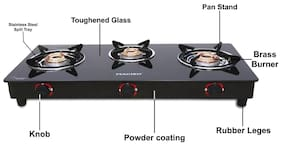 MACIZO Preto 3 Burner Regular Black Gas Stove ,