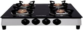 MACIZO Aspro 4 Burner Regular Black Gas Stove , ISI Certified