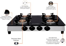 MACIZO Aspro 4 Burner Regular Black Gas Stove , ISI Certified