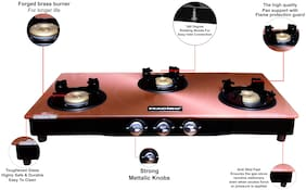 MACIZO Digital- Gold 3 Burner Regular Golden Gas Stove , ISI Certified