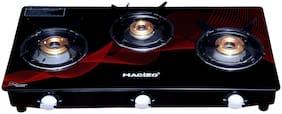 MACIZO Red Wave 3 Burner Regular Red & Black Gas Stove ,