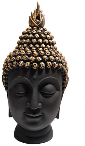 MADE IN INDIA Handcrafted Superior Quality Lord Gautam Buddha Face Head Showpiece Statue Idol for Good Luck & Happiness Home Decor Gift Item Decorative Showpiece 13 CM