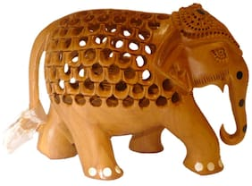 Made with Wooden Material Wooden Elephant in Jali Work Medium in Size Statue by Bharat Haat BH01861