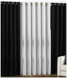 Madhav product White And Black Eyelet Door Curtain (Set Of Three)