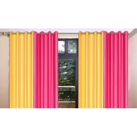 Madhav Product Plain With Tissue Eyelet Long Door Curtain (Set Of 4)