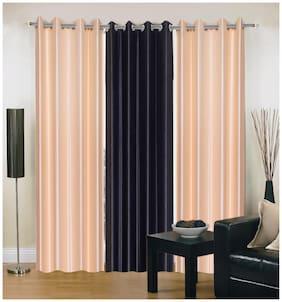 Madhav Product Plain Eyelet Long Door Curtain (Set Of 3)