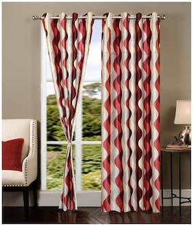 Madhav product printed designer eyelet door curtain set of 5