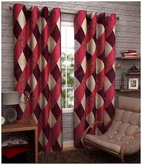 Madhav product Multi Color Eyelet Door Curtain (Set Of Two)