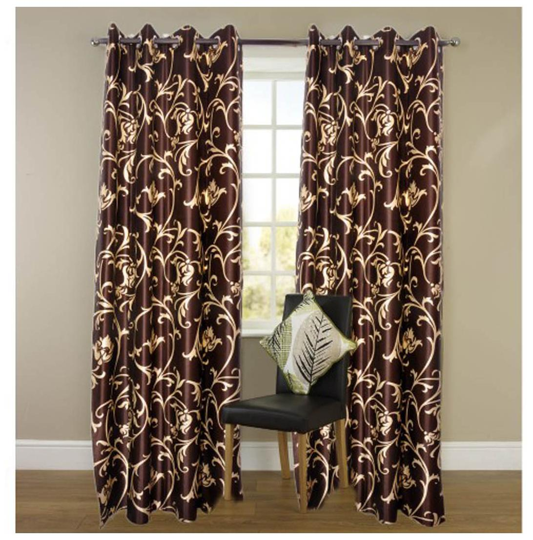 Madhav Products Flower Design Eyelet Door Curtain (1Pcs)